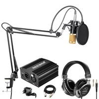 Neewer NW 800 Condenser Microphone(Black/Gold) and Monitor Headphones Kit 48V Phantom Power Supply NW 35 Boom Scissor Arm Stand