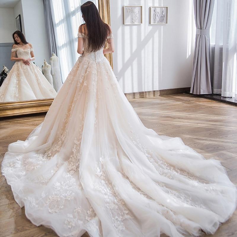Luxury Royal Train Wedding Dress Off Shoulder Appliques