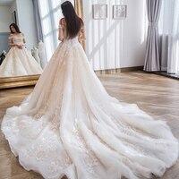 Luxury royal train Wedding Dress off shoulder appliques Wedding party gown lace up Vestidos de noiva Bride dresses long marriage
