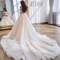 Luxury royal train Wedding Dress off shoulder appliques Wedding party gown lace up Vestidos de noiva Bride dresses long marriage