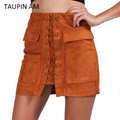 TAUPIN AM Brown pencil suede skirt Autumn winter 2017 lace up bodycon women skirts Short high waist casual skirts pocket