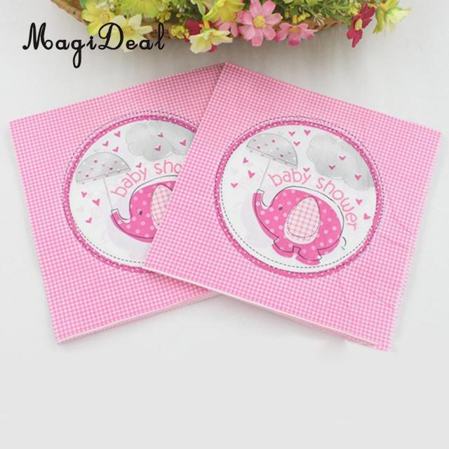 MagiDeal 20pcs Lovely Elephant Style Paper Napkins Serviettes Baby Shower  Tableware Pink