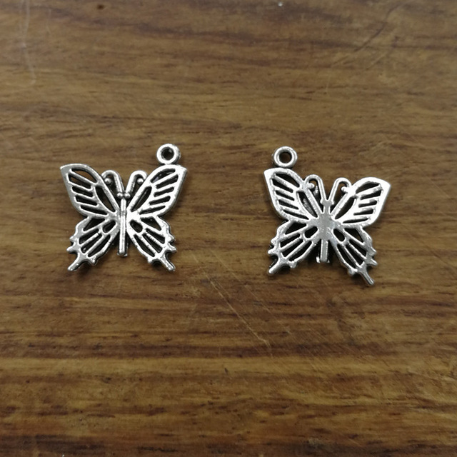 20 Silver Plated Butterfly Tibetan Metal Charms 15x11mm Jewellery Making Pendant