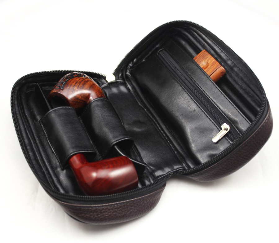 Vauen Soft PU Leather Bag Clutch For 2 Pipes Portable Wood Smoke Tobacco Smoking Pipe Case/Pouch Smoking Tools Accessories Bag