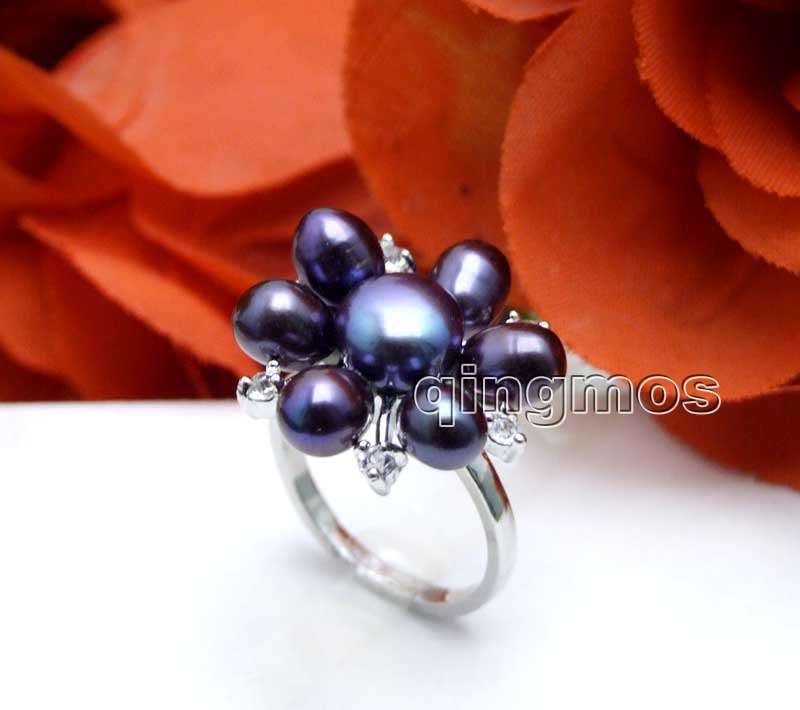 New Fashion Women Jewelry Gift 20mm Black Rice Natural Pearl Flower #6.5 Ring-rin24 Wholesale/retail Free ship