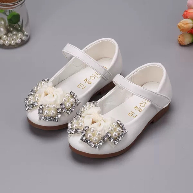Baby Girls Shoes Kids Soft Bottom Rhinestone Pearl Flower Princess Shoes Girls Chaussure Fille Childrens Single Shoes 1 2 3 4-14