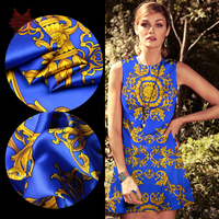 Blue Yellow Retro Leopard Print Spandex Silk Fabric For Cheongsam Dress Shirt Tissue Textile 19mm Free
