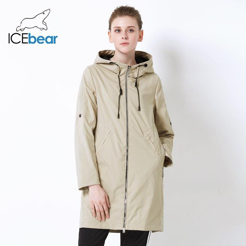 ICEbear 2019 สตรีฤดูใบไม้ร่วง Windbreaker เดี่ยวแถว Zipper ลำลองแฟชั่นผู้หญิง Trench Coat ยาวยี่ห้อเครื่องแต่งกาย GWF19013I-ใน โค้ทยาว จาก เสื้อผ้าสตรี บน   2
