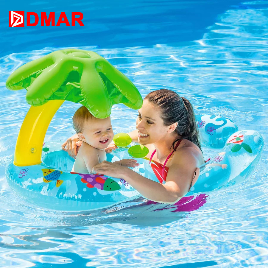 DMAR Inflatable Double Swimming Ring Baby Pool Float Toys With Canopy Sea Mattress Party Parent-child Activity Flamingo Unicorn