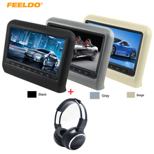 FEELDO 1Pc HD 9″ Car Headrest LCD Monitor Hanging DVD Player With FM USB SD Game +1Pc IR Infrared Wireless Music Foldable