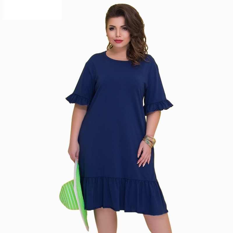 Vestidos Verano 2019 Summer Dress Cotton Patchwork Beach Dress Plus Size Women Dress Lace Sleeve 5XL 6XL Big Size Party Dress