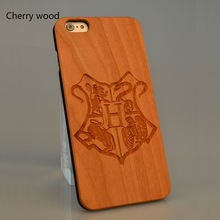 Harry potter  hogwarts Cherry Wooden Case Cell Phone Customized Name For  6 6S 6Plus 7 7 Plus