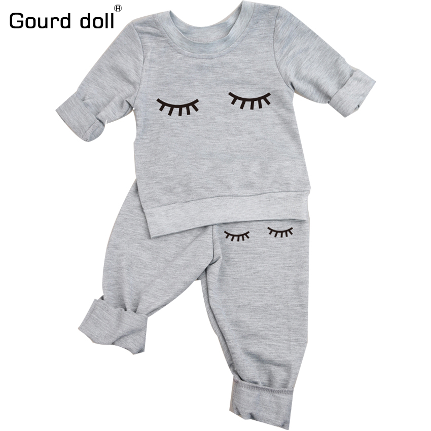 Gourd doll Spring autumn baby girl clothes casual long-sleeved T-shirt+Pants suit Tracksuit the cow suit of the girls clothing new arrival spring fall girl t shirt cotton long sleeved casual children t shirt girl long sleeve t shirt 6 11y
