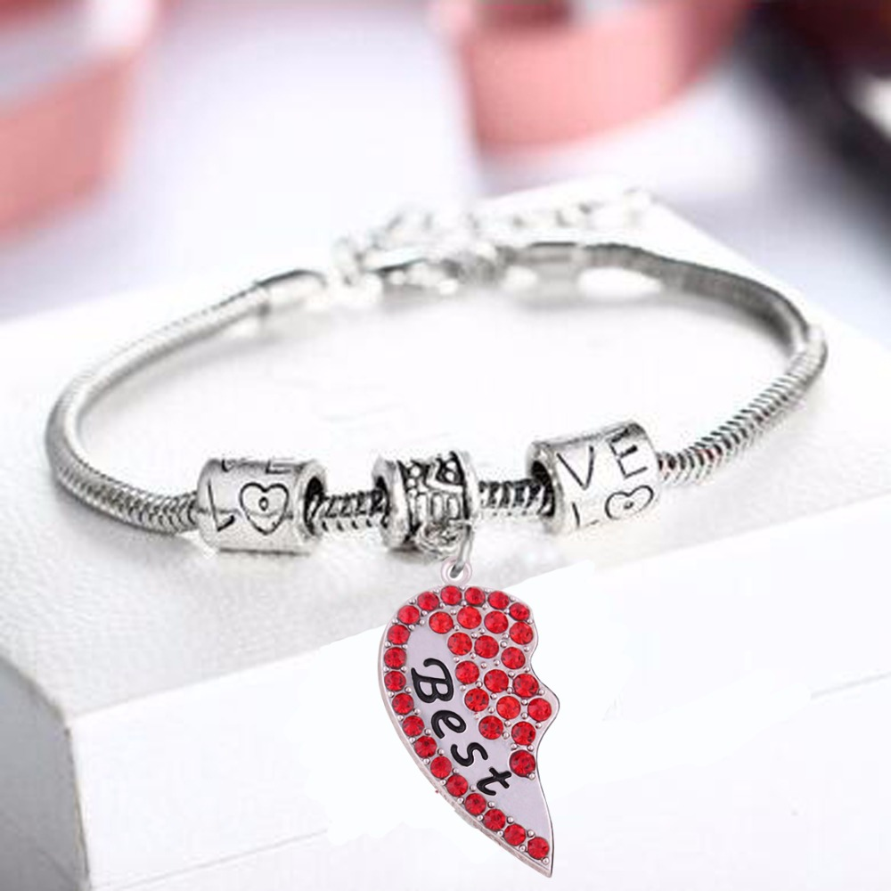 Set Of 2 Crystal Heart Best Friend Charm Bracelet Jewelry Gift For Mother  And Daughter(