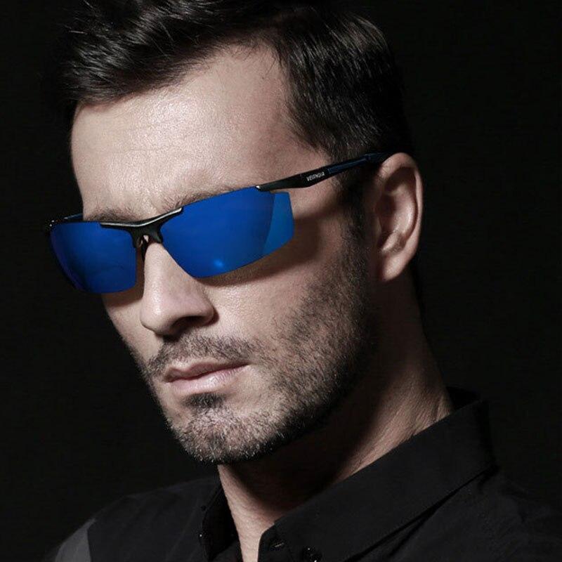 VEITHDIA Aluminum Magnesium Men Sunglasses Polarized Men Coating Mirror Driving Sun Glasses LM58