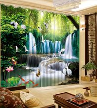 Custom Modern Waterfalls Blackout 3D Curtains for Living room Bedroom Photo Forest sun nature Landscape Curtains Home Decoration(China)