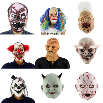 Halloween Scary Clown Mask Long Hair Ghost Scary Mask Props Grudge Ghost Hedging Zombie Mask Realistic Latex Masks Horror! image