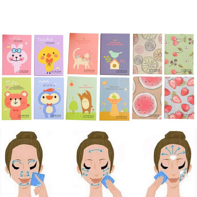 100pcs/Pack Tissue Papers Makeup Cleansing Oil Absorbing Face Paper Korea Cute Cartoon Absorb Blotting Facial Cleanser Face Tool