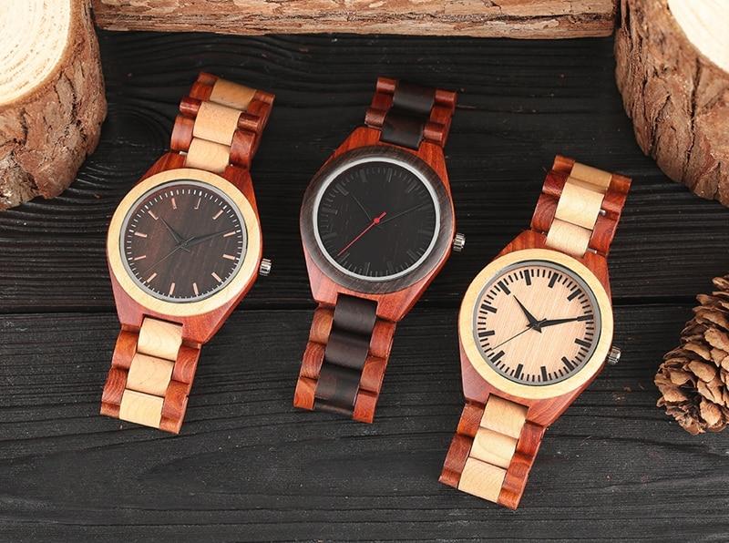 YISUYA Men's Ebony Wooden Watch Wood Strap Quartz Analog Creative Wristwatch Simple Nature Bamboo Male Watches Clock saat (13)