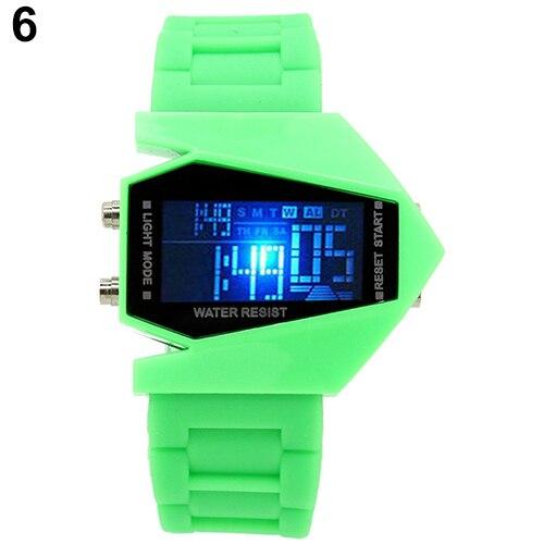 Fashion Top Brand Luxury Cool Men's Oversized Design Light Digital Sports Plan Shaped Dial Wrist Watch 6