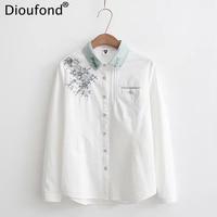 Dioufond Flower Embroidery Blouse Women Casual Cotton White Blouse Shirt Fashion Long Sleeve Blouse Loose Women
