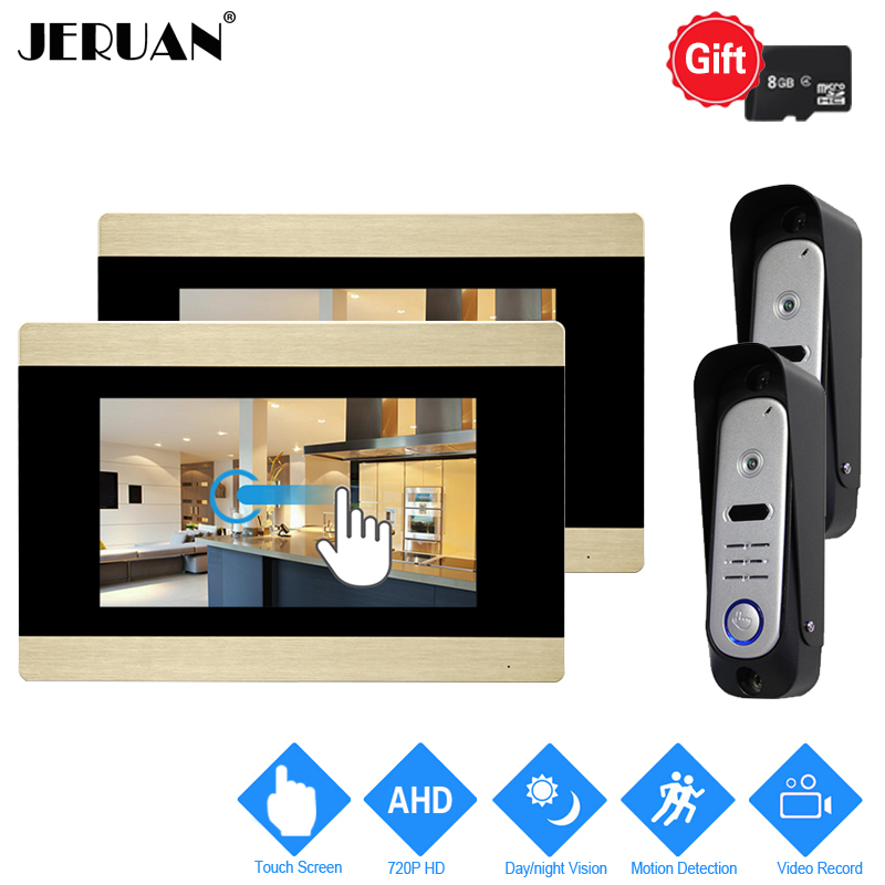 JERUAN 7`` Touch Screen Video Door Phonel Intercom System 720P AHD Motion Detection 2 Record Monitor+ 2 HD Waterproof Camera 2V2