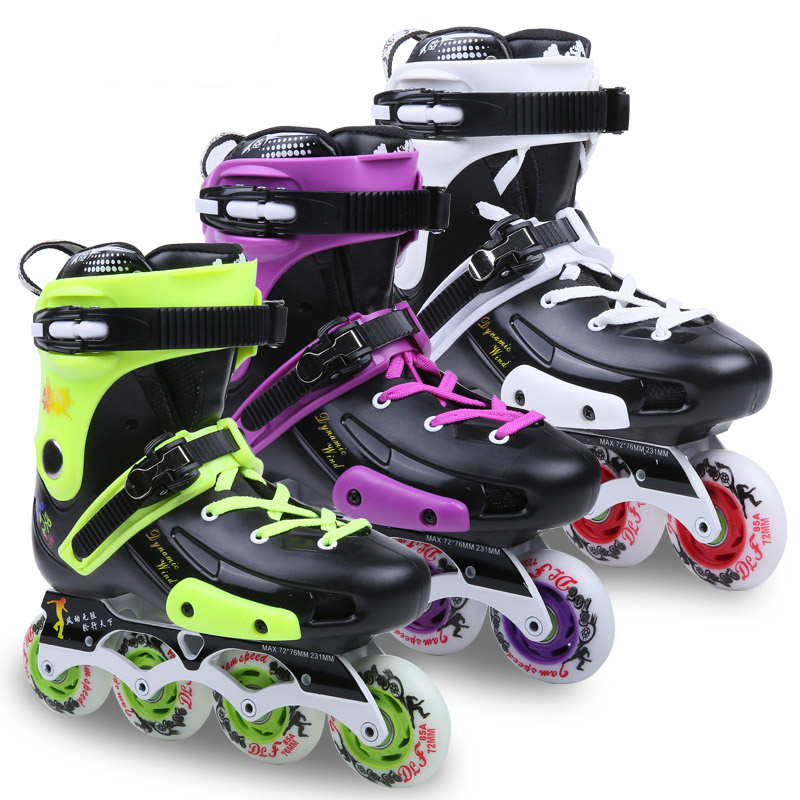 DLF F5 Slalom Inline Skates3 Colors Adult Skating Shoes PU Wheels For Free Skating Sliding Street Skating girls and ladies favorite white roller skates with full grain genuine leather dual lane roller skate shoes for adult skating