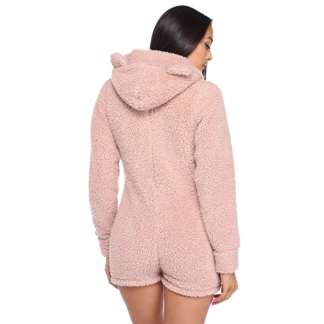 Hooded Rabbit Ear Fleece Onesie Women – 21JS