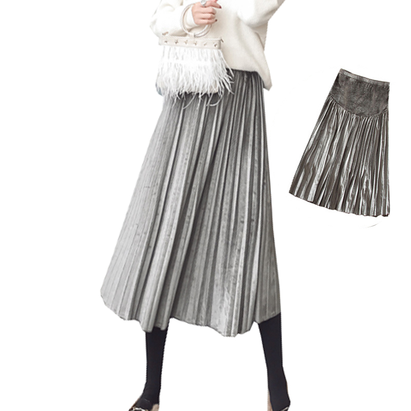 Pregnant Women Pleated Velour Long Skirts Maternity Fashion Clothes Pregnancy Plus Size Vintage Elegant Midi Belly Support Skirt