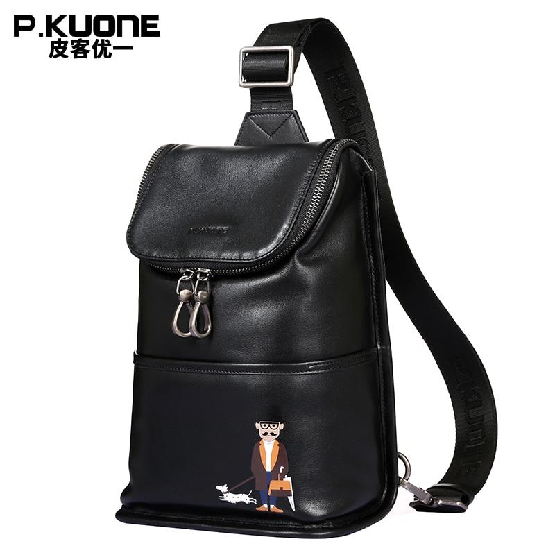 Здесь продается  P.KUONE Genuine Leather Hand bag Good Quality Chest Bag New Design Uncle Walk Dog Chest Pack Best Travel Shoulder Crossbody Bag  Камера и Сумки