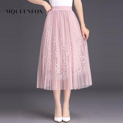 9f7550dbf Falda plisada larga de tul bordado floral caliente 2019 nueva falda de  malla de encaje de alta calidad para mujer falda de verano