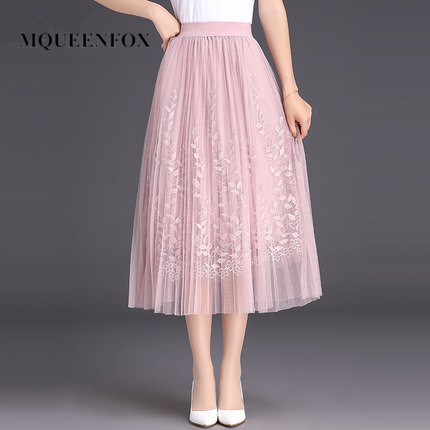 Hot Floral Embroidery Tulle Long Pleated Skirt 2019 New Women High Quality A-line Lace Mesh Skirt Summer Skirt