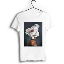 Sexy Girl Flowers Tshirt Print Short Sleeve Casual Couple T Shirt O-Neck T-shirt Vintage Boyfriend Gift Tops