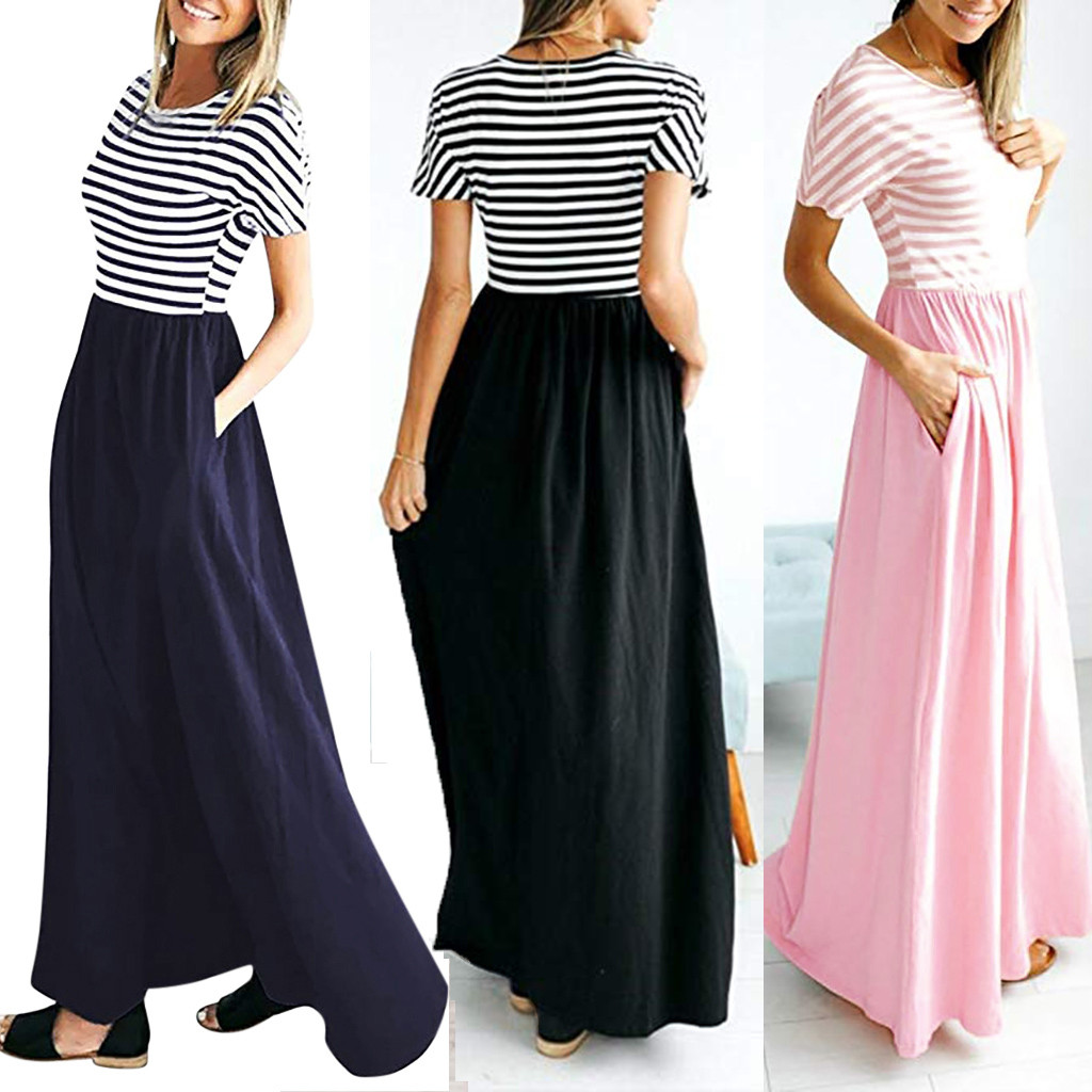 MUQGEW Spring New Casual Dress Loose Beach Party Dresses Sundress Striped O-Neck Blue Black Pink S-XXL Summer Dress Elegant