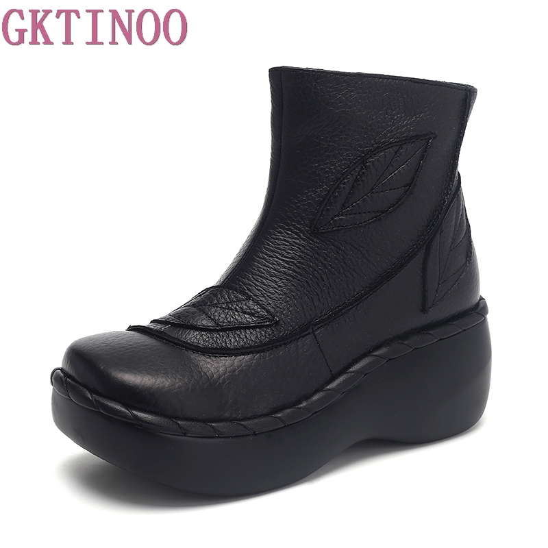 GKTINOO Genuine Leather Women Boots 2019 Spring Autumn Fashion Sewing 6cm Thick Sole Boots with Platform Women Ankle Shoes