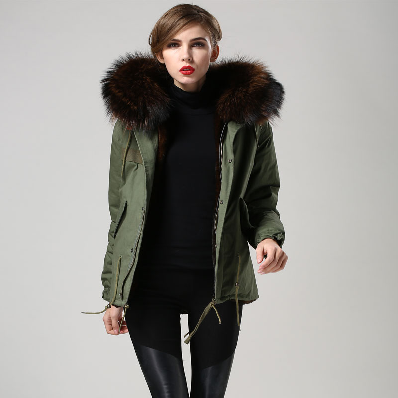 JZAYV 2019 Warm Big Collar Winter Coffee Color Faux Fur Jacket, Lady Short Military Furs Jacket Plus Size INS Daily Wear