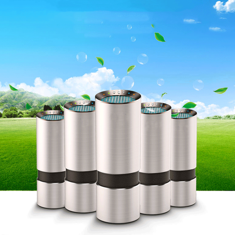 HEPA Car Air Purifier Ozone Ionic 12V Negative Ions Air Cleaner Ionizer Air Freshener Auto Pm2.5 Eliminator Cup Car Charger