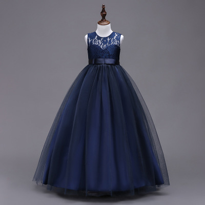 navy blueLace Tulle White   Flower     Girl     Dresses   for Weddings Belt Bow   Girls   Pageant   Dresses   First Communion   Dresses   Kids Brithday