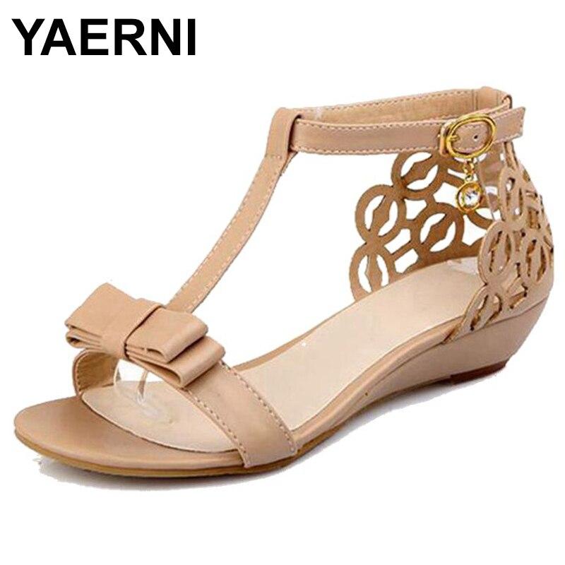 YAERNI2019Large size 34-43 Women Wedge sandals High quality Rhinestone Fretwork Buckle Strap Elegant Sweet Summer shoes CuteE952