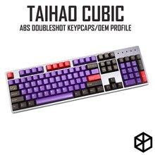 Taihao kübik abs doubleshot kübik keycaps diy oyun mekanik klavye mor kahverengi sarı 1.75 vites 104 ansi