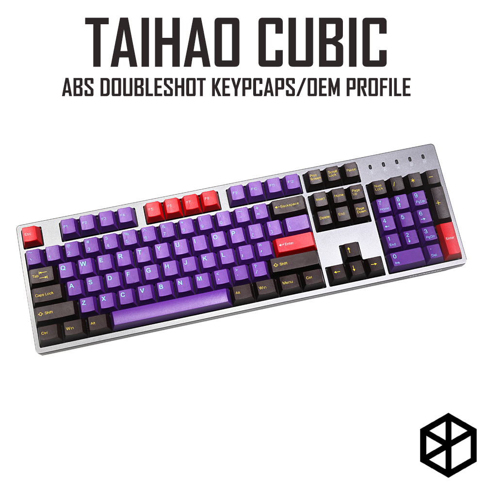 Taihao Cubic Abs Doubleshot Cubic Keycaps For Diy Gaming Mechanical Keyboard Purple Brown Yellow With 1.75 Shift For 104 Ansi