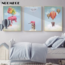 NUOMEGE Cute Elephant Canvas Painting Posters and Prints Nordic Nursery Hot Air Balloon Wall Pictures Children Room Decoration