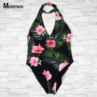 MEIERSES kadın 3D Dijital Çiçek Baskı Mayo Tek Parça Mayo Derin V Boyun Mayo Halter Seksi Backless Plaj Suit