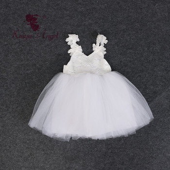 Kaiya Angel Pearl Flower White Mesh Girl Off-shoulder Princess Summer Clothes Birthday Wedding Party Boutique Dress Wholesale