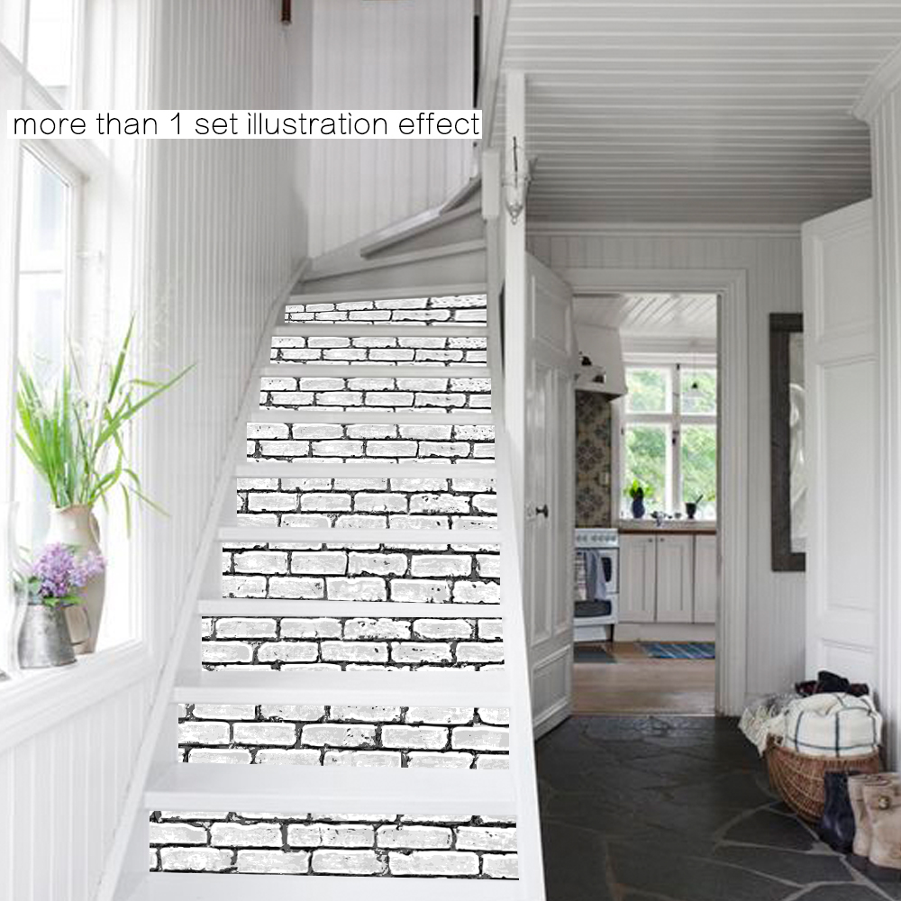 Imitation Brick Stairway Stickers For Home Decor 3D Waterproof Poster PVC  Wall Sticker(China (