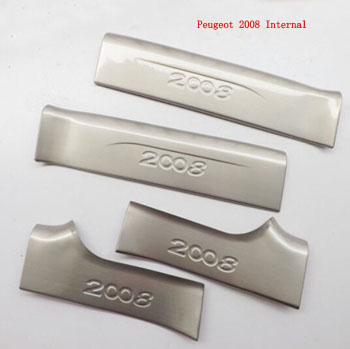 for Peugeot 2008 Automobile 2014 Stainless Steel Internal Door Sill Strip Welcome Pedal Car Styling Stickers Accessories 4pcs high quality mazda 3 welcome pedal stainless steel door sill stickers led threshold stickers free shipping