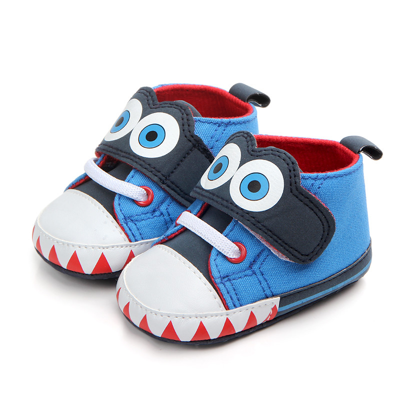 Big Eyes Newborn Baby Canvas Sneakers Infants Running Hoop & Loop Mocassins Baby Todders 11-13cm Length Cute