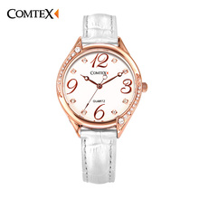 COMTEX 2017 New Women Watches Fashion Causal Leather Wristwatch Simple Number Quartz Watches Waterproof Dress Clock For Ladies