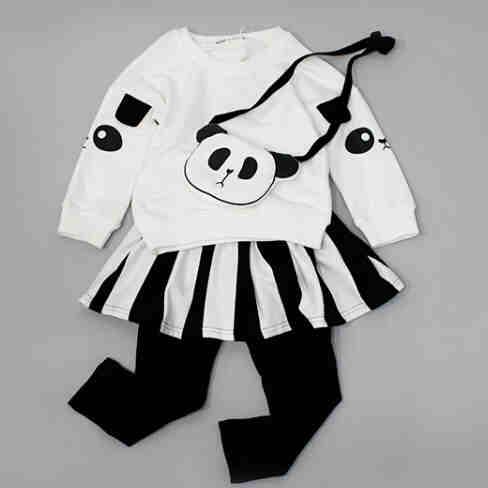 2016 Fashion New Girls Boys Clothing Sets Kids Cartoon Panada Clothes Children Clothing Full Sleeve T Shirt+Pants+ bag, 3pc Set new fashion boys cartoon locomotive set thomas