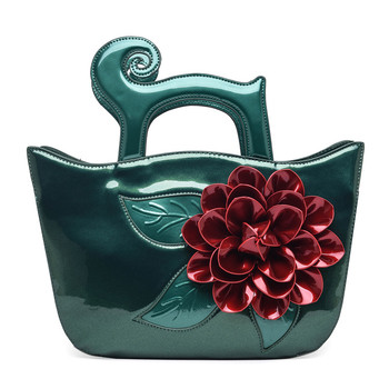 2018 Big Red Flower Women's Handbags Bright PU Leather Wings Tote Fashion Bolsos Mujer Cross Body Bags Vintage Top-Handle Bags